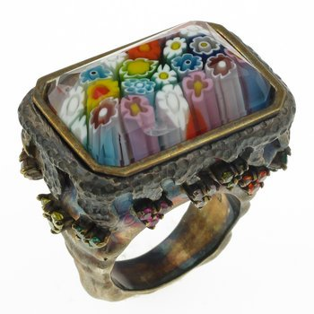 Faceted Murano Millefiori Ring 7