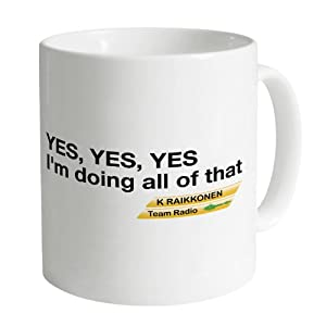 Amazon.com | Kimi Raikkonen Yes Yes Yes Mug, White: Coffee Cups & Mugs