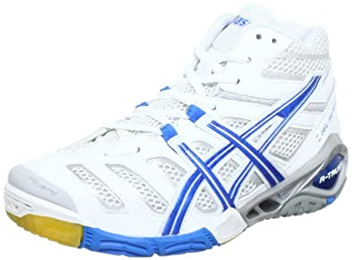 ASICS GEL-SENSEI 4 MT B252Y, Damen Volleyballschuhe, Weiß (White / Brilliant Blue / Lightning 0412), EU 40.5 (US 9)
