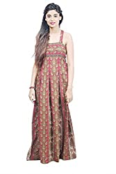 Fadjuice Women's Maxi (8964S_Maro Base Sap Green Beige Brown Black Print_Small)