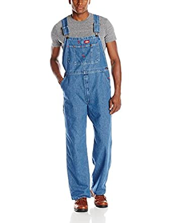 Dickies Men's Denim Stone Washed Bib Overalls, Stone Washed Indigo Blue, 30x30