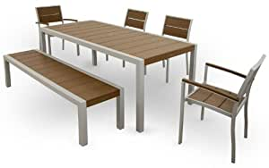 Trex Outdoor Furniture TXS124-1-11TH Surf City 6-Piece Dining Set, Textured Silver/Tree House