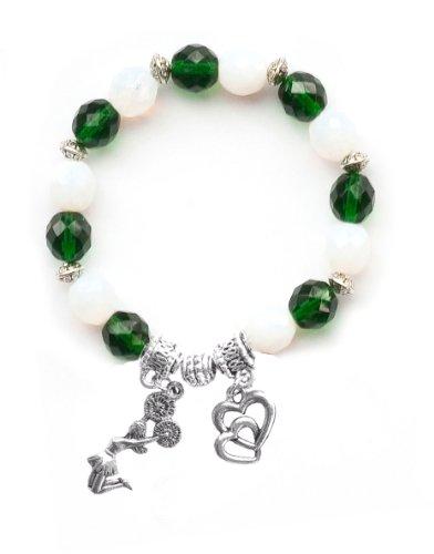 """Jumping Cheerleader"" Girls Cheerleading Bracelet (Team Colors Forest Green & White)-Small"