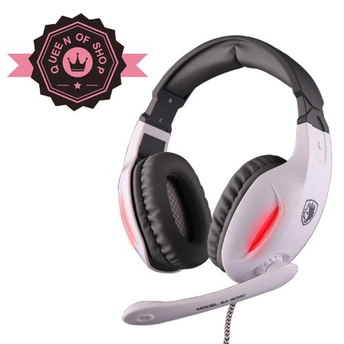 Sades Sa902C White Fidelity 40Mm Neodymium Speakers Transform Glare Gaming Headsets With High-Fidelity Microphone For Omg