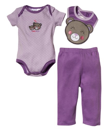 Peanut Buttons Baby Girl'S Dots Printed Creeper With Bear Applique Knit Pants 6/9 Months Purple front-104222