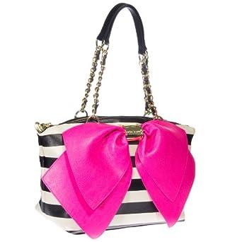 Betsey Johnson Bow Nanza Satchel Bag (Black/Cream/Fuchsia)