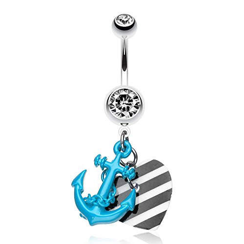 316L, 14GA, Vibrant Anchor Nautical Heart Belly Ring (Blue)
