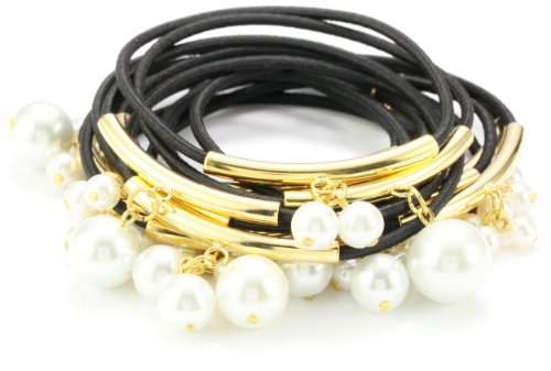 Accessories & Beyond Set of 15 Black Elastic Bangles