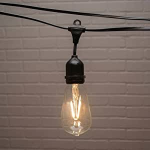 Amazon.com : 2 PACK-Commercial Edison Drop String Lights, ST58 Dimmable LED, 106ft Black Wire ...