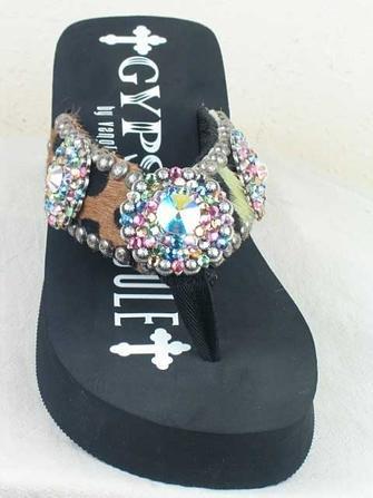 cee7bc466da2a Reviews for buyer Gypsy Soule Flip Flops BW LO M 6 Animal Print Hide Black  Wedge -