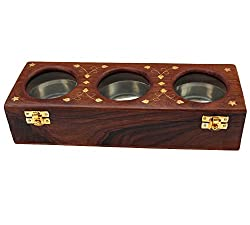ITOS365 Handmade Item Wooden Dry Fruit Box with Glass, 3 Bowls