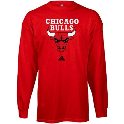 NBA adidas Chicago Bulls Red Primary Logo Long Sleeve T-shirt (Small) at Amazon.com