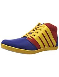 Drivn Men's  Blue And Yellow Canvas Sneakers