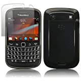 BLACKBERRY BOLD 9900 BLACK GEL SKIN CASE / COVER + SCREEN PROTECTOR PART OF THE QUBITS ACCESSORIES RANGEby Qubits