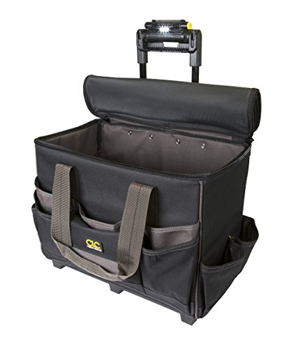 Custom Leathercraft L258 TechGear Roller Tool Bag with Lighted Handle, 17-Inch