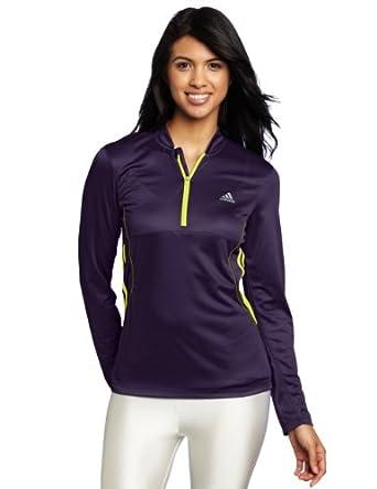 adidas Women's Response Drei Streifen Long Sleeve Half zip Tee, Dark Violet/Lab Lime, Large