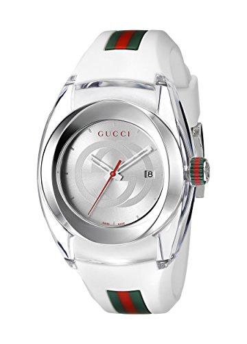 Gucci  YA137302 - Reloj de cuarzo unisex, con correa de goma, color blanco