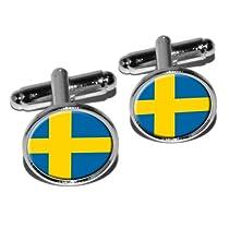 Sweden Swedish Flag Round Cufflink Set - Silver