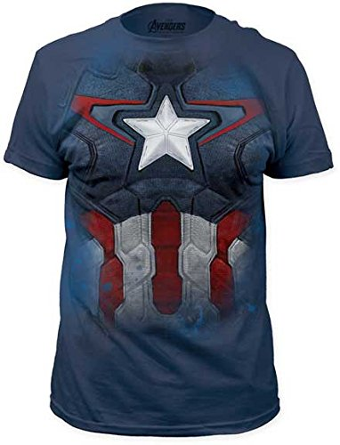 Avengers Captain America Costume Suit Adult T-shirt - Blue