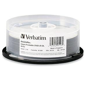 Verbatim 95123 DataLifePlus 8.5 GB 2.4x White Inkjet Printable DVD+R DL Discs, 20 Disc Spindle (Discontinued by Manufacturer)