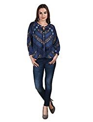 Splendent Blue Peasant Tops for Women, Ladies Casual Tops/Shirts/T-Shirts/Blouses, Casual Summer Tops