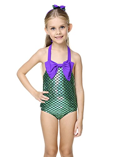 Le SSara LittleGirls2pezziSwimmableMermaidPrincessBikiniSwimBathingSuit (5-6 anni)