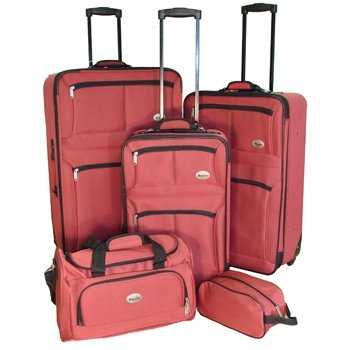 Confidence 5 Piece Suitcase Set / Expandable Luggage with Wheels, Red by Confidence