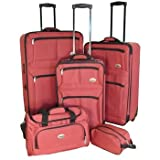 Confidence Luggage 5 Piece Suitcase Set Red