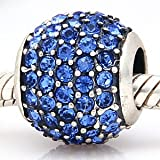 Everbling Blue Pave Lights With Blue Austrian Crystal Authentic 925 Sterling Silver Bead Fits Pandora Chamilia Biagi Troll Charms Europen Style Bracelets