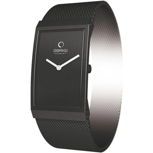 Obaku by Ingersoll ladies black dial black leather strap watch