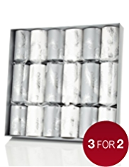 6 Silver & White Feather Luxury Christmas Crackers