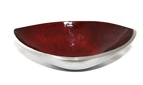 StarZebra Hand Painted Artisan Elegant Red Serving Bowl - Home Decor Gifts Accent Piece