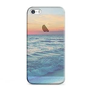 iPhone 5 [Transparent Hard Plastic Cover] Printed Design - Nature Sunset Sea Wave Landscape Case