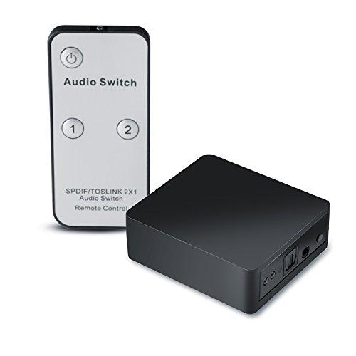 CSL - Switch Toslink 2x1 / SPDIF (TOSLINK) commutatore audio con telecomando | Trasmissione 1: 1 | Trasmissione del segnale senza perdita | Apple TV, PS3/PS4, Xbox/Xbox One, lettore Blu-ray, ecc. Per soundbar, ricevitore, box altoparlanti, sistema hi-fi ecc.) | nero
