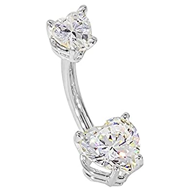 "FreshTrends 14G 3/8"" - Petite Hearts CZ 14KT White Gold Belly Bar Ring - (April)"