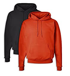 Hanes P170 Mens EcoSmart Hooded Sweatshirt 2XL 1 Black + 1 Orange