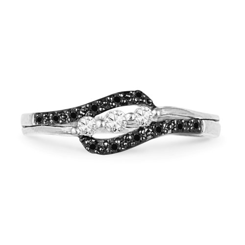 10KT White Gold Round Diamond Black And White Three Stone Bypass Promise Ring (1/4 cttw)