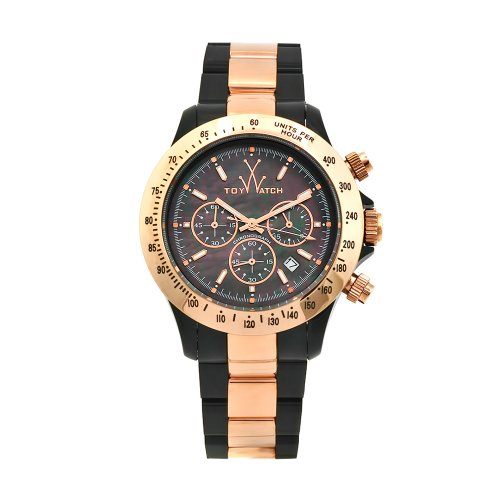 Toy Men's 11228-RG Heavy Metal Plasteramic Black Mother-Of-Pearl Chronograph Dial Watch