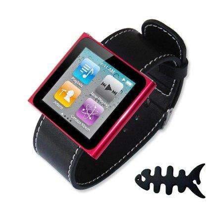 Fist2savvv black Ipod Nano 6th Generation Watch Strap + Fish bone earphone