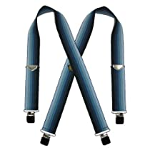 Welch Mens Elastic Clip-End 2 Inch Stripe Ombre Suspenders (Tall Available), X-Long, Navy