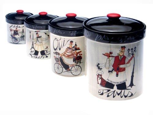 certified international paris chef 4 piece canister set 4 piece kitchen canister sets home design ideas