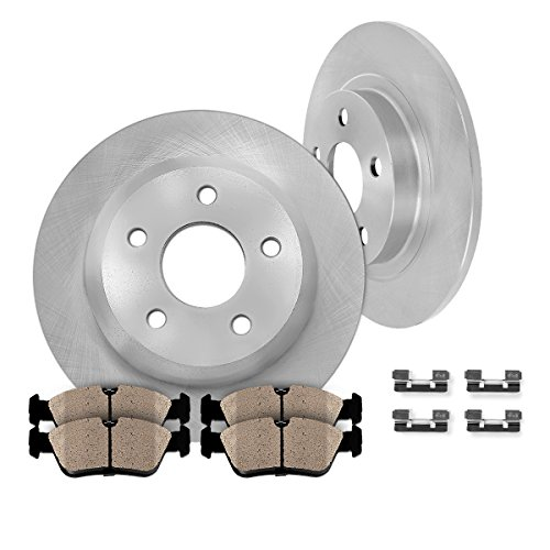 REAR Premium OE 283 mm [2] Rotors + [4] Quiet Low Dust Ceramic Brake Pads + Pad Hardware Clips Kit CK006690 (Kia Optima Turbo Kit compare prices)