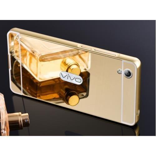 buy online ca16b ae846 SDO™ Metal Bumper Frame Case with Acrylic Mirror Back Cover Case for Vivo  Y51 / Y51L (Gold)