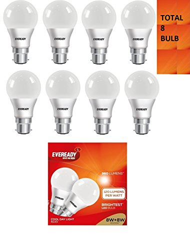 8W B22D LED Bulb (White, Pack of 8)