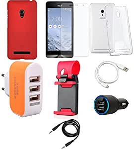 NIROSHA Tempered Glass Screen Guard Cover Case Car Charger USB Cable Mobile Holder Charger for ASUS Zenfone 6 - Combo