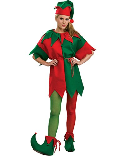 Women's Red And Green Elf Tights Costume Accessory