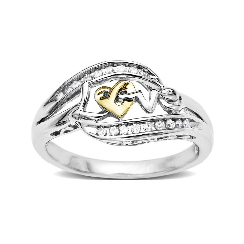Love Knot Sterling Silver and 14k Yellow Gold Diamond Love Ring (1/10 cttw, I-J Color, I2-I3 Clarity), Size 7