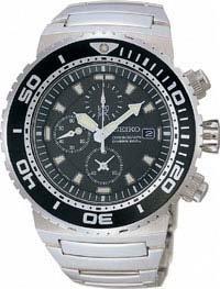 Seiko SNDA13P1 - Reloj cronógrafo de caballero de cuarzo con correa de acero inoxidable plateada - sumergible a 200 metros