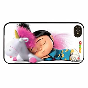 Despicable Me Minion Agnes Gru Sleeping Pink Bacground Fashion Design Hard Case Cover Skin Protector for Iphone 4 4s Iphone4 At&t Sprint Verizon Retail Packing(black Pc+pearlescent Aluminum) Ok-0101000108001601