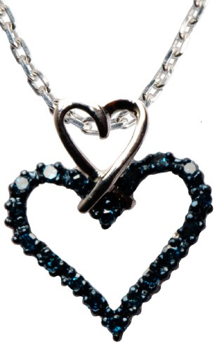 Sterling Silver Blue Diamond Double Heart Pendant Necklace (3/20 cttw), 18